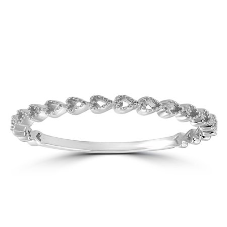 14k White Gold Heart Shape Stackable Womens Ring Wedding Band