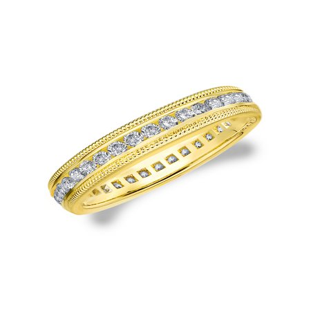 0.50 CT Diamond Eternity Wedding Band, 1/2 CT Diamond Eternity Anniversary Ring with Milgrain