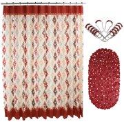 14 Pcs PEVA Shower Curtain Set 72 W Anti Slipping Rubber