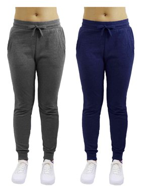 Womens Fleece Jogger Sweatpants With Zipper Pockets (2-Pack) - SLIM FIT