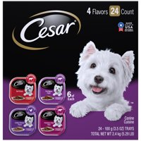 CESAR Wet Dog Food Classic Loaf in Sauce Beef Recipe, Filet Mignon, Grilled Chicken, & Porterhouse Steak Flavors Variety Pack, (24) 3.5 oz. Trays