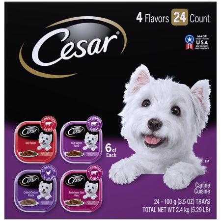 CESAR Wet Dog Food Classic Loaf in Sauce Beef Recipe, Filet Mignon, Grilled Chicken, & Porterhouse Steak Flavors Variety Pack, (24) 3.5 oz. (Best Healthy Weight Dog Food)
