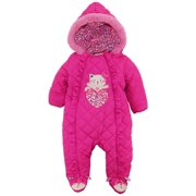 85531abf4 Duck Duck Goose Baby Girls' Hooded Footed Quilted Pram Suit