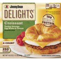 Jimmy Dean Delights® Turkey Sausage, Egg White & Cheese Croissant Sandwiches, 4 Count (Frozen)