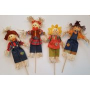 Fall Scarecrow Stick Decor, Indoor/Outdoor Halloween and Thanksgiving Decorations, Set of 4, 17 Inches
