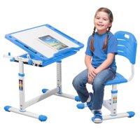 Children Desk Kids Study Child School Adjustable Height Children's Table Chair Set with Storage Perfect Gift For Kids-Blue