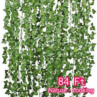 84FT 12 Strands Artificial Flowers Greenery Fake Hanging Vine Plants Silk Wisteria Garland Hanging for Home Kitchen Garden Office Wedding Wall Décor