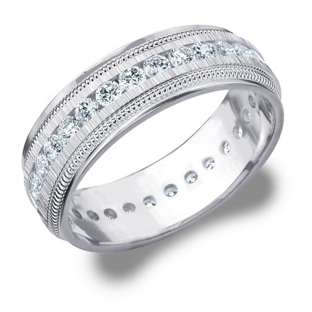 Diamond Simulant Eternity Ring - 1 CTTW Diamond Men's Wedding Band in White Gold, 1 Carat Diamond Eternity Ring