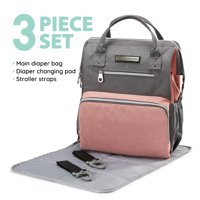 SoHo Collections, Wide Opening Unisex Diaper Bag Tote Backpack with Stroller Straps, 3 Piece Set (Pink and Gray)