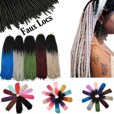 S-noilite Straight Faux Locs Crochet Hair Dreadlocks Crochet Braids Straight Goddess Locs Twist Braiding Hair Extensions-Wine Red,100g - 1 Goddess Braid
