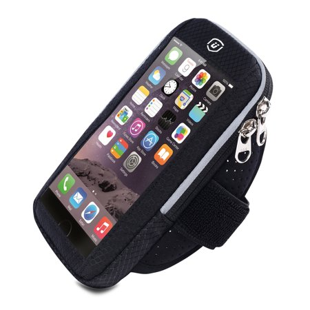 Cellphone Armband for iPhone X/8/7/6s/6, Samsung Galaxy S9/S8/S7, Running Fitness Exercise Workout Sport Case Waterproof Key/Card Holder for Running, Jogging, Biking, Hiking, Climbing Black Adjustable Sports Armband