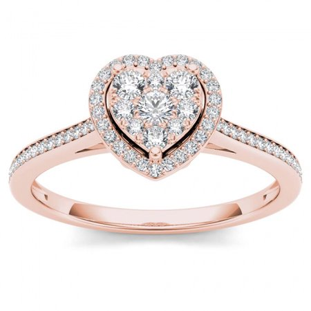 1/4ct TW Diamond 10K Rose Gold Heart Shaped Cluster Halo Engagement
