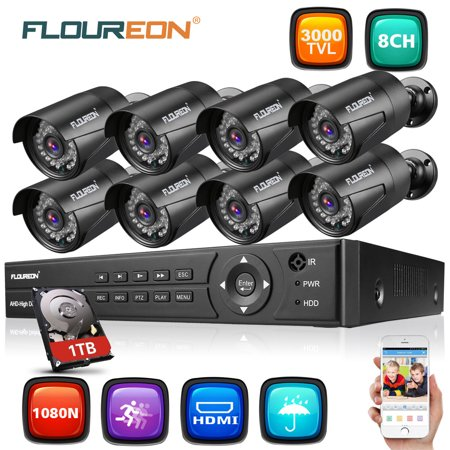 FLOUREON HD1080N Security Camera System for Home Surveillance with 8 3000TVL HD1080P Camera and 8CH DVR Kit(Night Vison, Weatherproof IP66) for Home Surveillance with 1TB