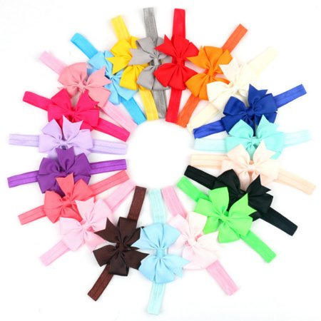 - 20 Pieces Girl Baby Girls Infant Boutique Wave Hair Flower Headband Hair Bow Band
