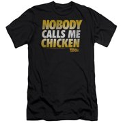 f518872f273 Back To The Future Sci-Fi Movie Nobody Calls Me Chicken Adult Slim T-