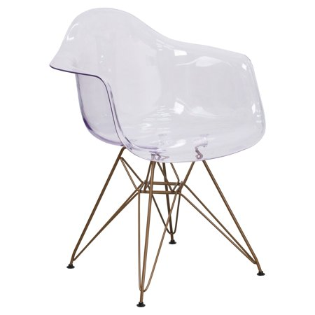 Flash Furniture Allure Series Transparent Side Chair with Gold (2000 Series Chair)