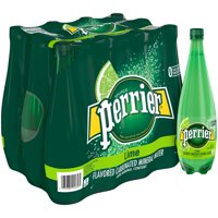 (12 Bottles) PERRIER Lime Flavored Carbonated Mineral Water, 33.8 Fl Oz
