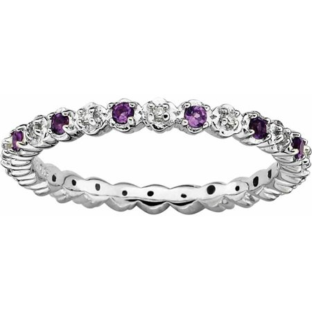 Sterling Silver Amethyst & Diamond Ring (Cushion Ring Amethyst Ring)