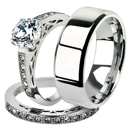 His & Her 3pc Stainless Steel 1.39 Ct Cz Bridal Ring Set & Men Beveled Edge Band Women
