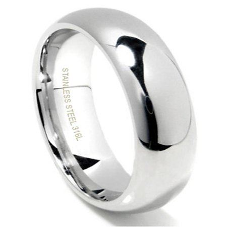 6MM 316L Stainless Steel High Polish Finish Plain Dome Wedding Band Ring Sz 10