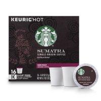 Starbucks Sumatra Dark Roast Single Cup Coffee for Keurig Brewers, 1 Box of 16 (16 Total K-Cup Pods)