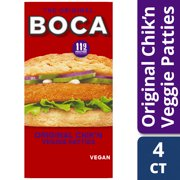 BOCA Original Chik'n Vegan Patties, Frozen Meat Substitute, 4 ct - 10.0 oz Box