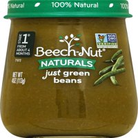 (10 Pack) Beech-Nut Naturals Just Green Beans Stage 1 Baby Food, 4.0 oz