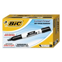 BIC Great Erase Grip Dry Erase Marker, Tank Style, Chisel Tip, Black, 12 Count
