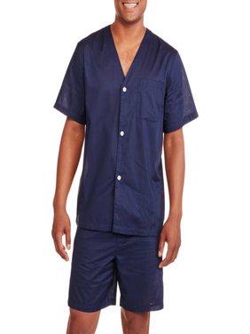 Fruit of the Loom Men's Short Sleeve Knee-Length Pant Solid Pajama Set