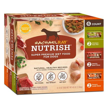 Rachael Ray Nutrish Natural Wet Dog Food Variety Pack, 8 oz tubs, Pack of 6