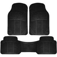 OxGord Universal Fit 3-Piece Full Set Ridged Heavy Duty Rubber Floor Mat, Black