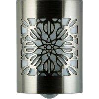 GE CoverLite LED Plug-In Night Light, Floral Design, Brushed Nickel, 29845