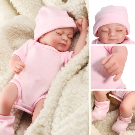 NPK 11'' Non-toxic Realistic Lifelike Realike Sweet Dream Newborn Reborn Baby Girl Doll Shower Toy Silicone Vinyl Handmade Kid Pretend Role Play Toy Weighted Alive Doll with Clothe - Little Girl Baby Doll Halloween Makeup
