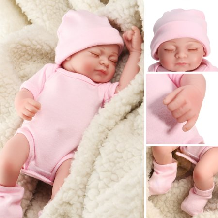 NPK 11'' Non-toxic Realistic Lifelike Realike Sweet Dream Newborn Reborn Baby Girl Doll Shower Toy Silicone Vinyl Handmade Kid Pretend Role Play Toy Weighted Alive Doll with