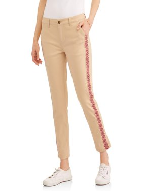 Women's Capri Chinos with Embroidered Trim
