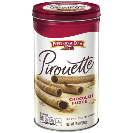 - Pepperidge Farm Pirouette Crème Filled Wafers Chocolate Fudge Cookies, 13.5 oz. Tin