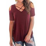 ba9944d62c7 Ladies Cold Off Shoulder Short Sleeve T Shirts V Neck Tops Casual Criss  Cross Tunic Blouse
