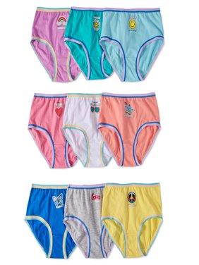 Wonder Nation Girls 100% Cotton Brief Panty, 9 pack