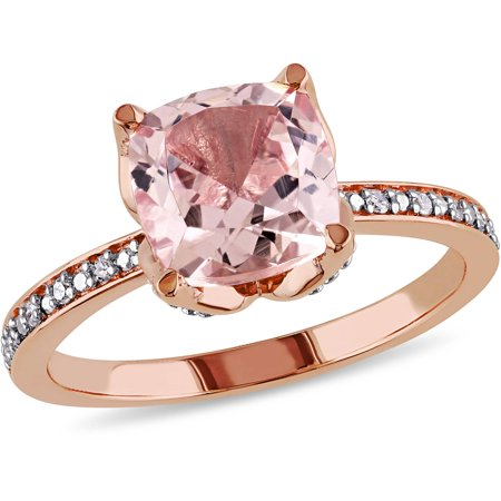 Twist Cocktail Ring - 2 Carat T.G.W. Morganite and Diamond-Accent 10kt Rose Gold Cocktail Ring