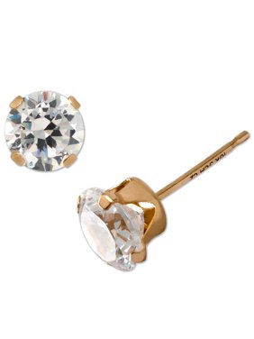 Believe by Brilliance 10kt Yellow Gold 4mm Round CZ Stud Earrings