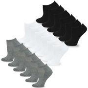 TeeHee Women's Fashion No Show Fun Socks 18 Pairs Packs (Black-Grey-White)