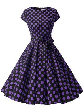 Market In The Box Women Vintage 1950s Cap-Sleeve Retro Rockabilly Prom Dress