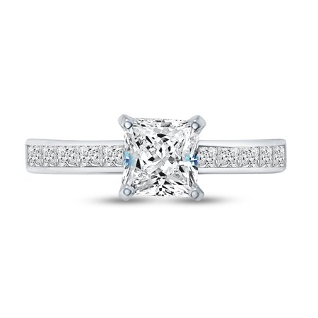 Solid 925 Sterling Silver Princess Cut Invisible Band Solitaire Engagement Ring CZ Cubic Zirconia (1.50cttw., 1.0ct. Center) , Size