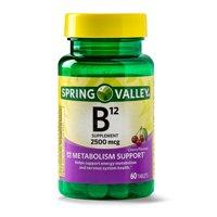 Spring Valley Vitamin B12 Tablets, 2500 mcg, 60 Ct