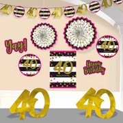 Over The Hill Hot Pink And Gold 40th Birthday Room Decorating Kit 10pc