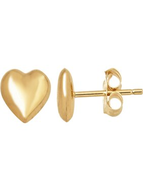 Simply Gold 14kt Yellow Gold Tiny Heart Button Stud Earrings