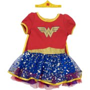 9714033b Wonder Woman Toddler Girls' Costume Dress with Gold Tiara Headband and  Cape, Red (