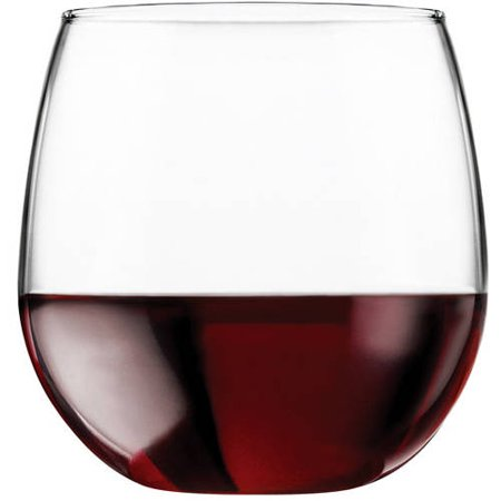 Red Wine Glass Sheer Rim (Libbey 16.75-oz. Stemless Red Wine Glasses, Set of 8 )