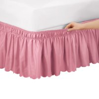 Scalloped Elastic Bed Wrap Around, Easy Fit, Dust Ruffle Bedskirt, Twin/Full, Rose
