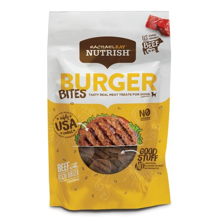 - Rachael Ray Nutrish Burger Bites Grain Free Dog Treats, Beef Burger with Bison Recipe, 12 oz